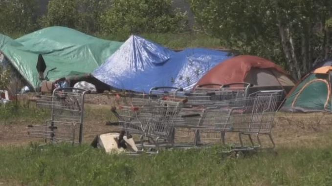 "Moncton's ""tent city"" is seen in the city on Aug. 27, 2019."