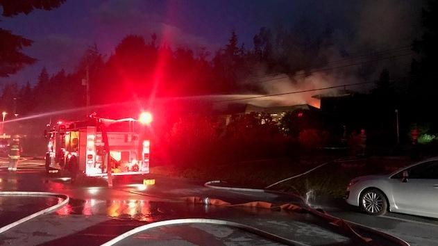 A fire broke out at a home on Elementary Road in Anmore early Monday morning.