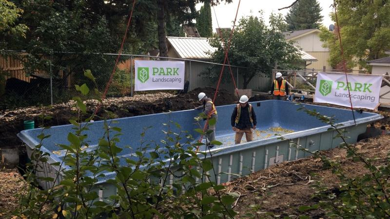 A crane lifts a new pool into a St. Albert backyard to replace one that was contaminated after a school bus drove into it. (Sean McClune/CTV News Edmonton)