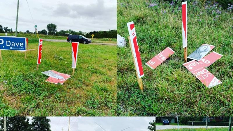 A candidate in Chatham-Kent-Leamington is reporting several damaged election signs. (Courtesy Katie Omstead / Twitter)