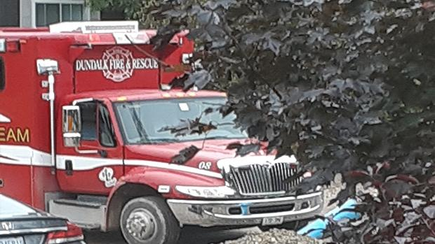 Emergency responders arrive at a fatal accident in Dundalk on Wed., Oct. 2, 2019
