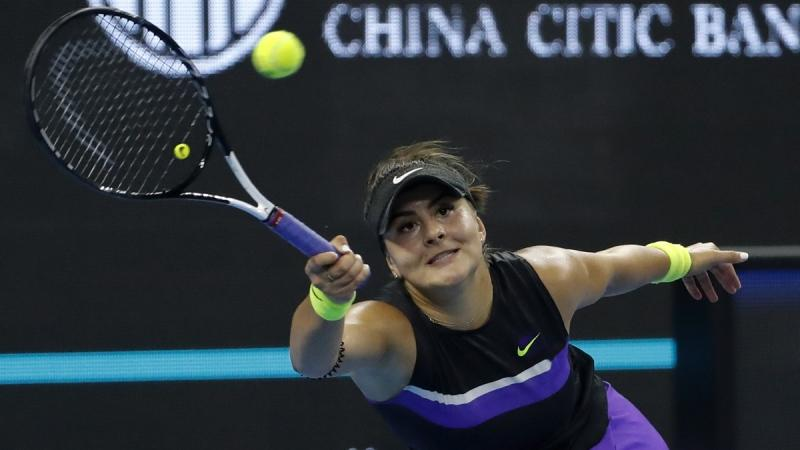 Bianca Andreescu hits a return shot against Jennifer Brady during their women's singles match at the China Open tennis tournament, on Oct. 3, 2019. (Andy Wong / AP)