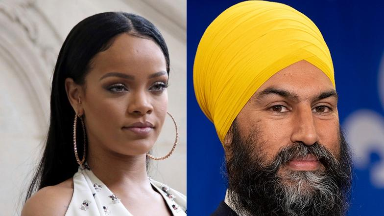 In this composite image, on left is singer Rihanna pictured at Christian Dior's Spring-Summer 2017 in Paris in a Sept. 30, 2016 file photo (AP Photo/Thibault Camus, File); on the right is NDP leader Jagmeet Singh is seen during a campaign speech in Sherbrooke, Que., Sunday, September 15, 2019. THE CANADIAN PRESS/Adrian Wyld