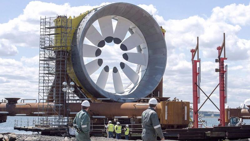 A turbine for the Cape Sharp Tidal project is seen at the Pictou Shipyard in Pictou, N.S. on Thursday, May 19, 2016. (THE CANADIAN PRESS/Andrew Vaughan)