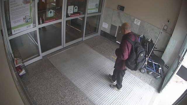 Hospital surveillance footage showing the last sighting of Allan Landrie. (Courtesy Saskatoon Police Service)
