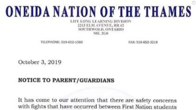 A letter from Oneida Nation of the Thames to parents issued Thursday, Oct. 3, 2019.