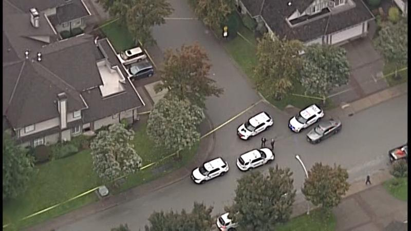 A heavy police presence in Surrey can be seen in this photo from Chopper 9. (Gary Barndt)