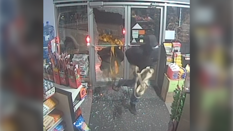 CCTV footage of break and enter in Thorsby. Oct. 6, 2019. (Thorsby RCMP)