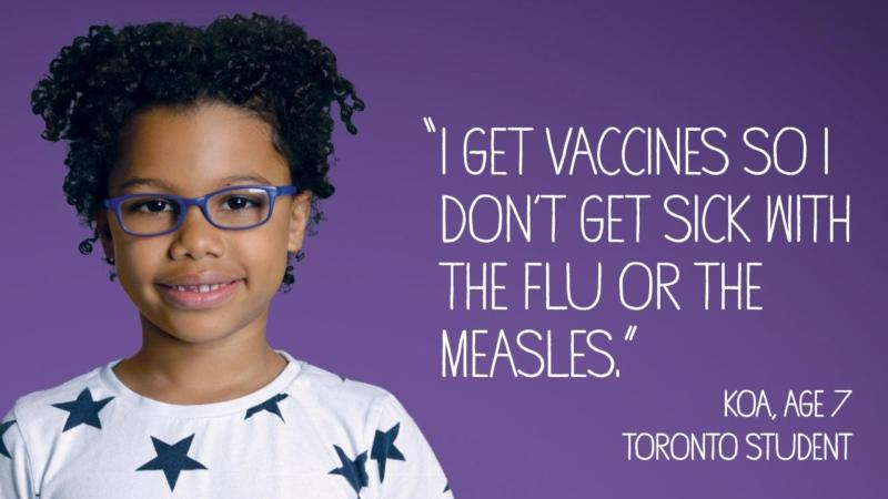 Toronto Public Health has launched a new advertising campaign to convince parents to vaccinate their children. This is one of the posters. (Toronto Public Health/Twitter)