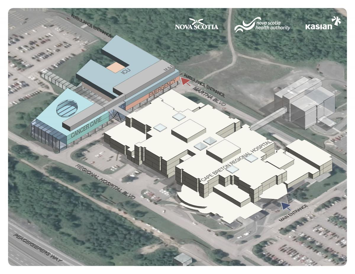 A rendering of the Cape Breton Regional Hospital expansion project (NSHA)