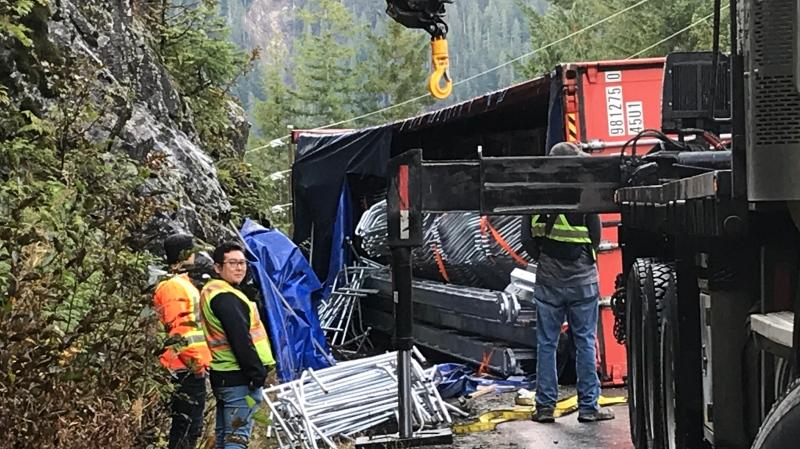 Alberni Towing Company owner Rudy Kurath said several pieces of heavy equipment were used to right the truck, trailer and container. (CTV Vancouver Island)