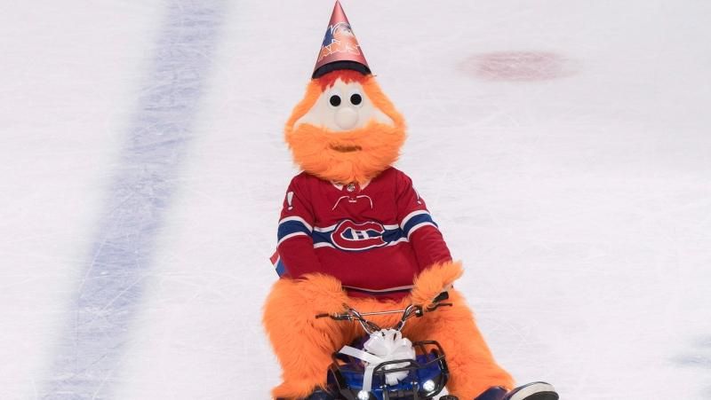 Montreal Canadiens mascot Youppi celebrates its 40th birthday during an NHL hockey game between the Canadiens and the Colorado Avalanche in Montreal, Saturday, January 12, 2019. THE CANADIAN PRESS/Graham Hughes