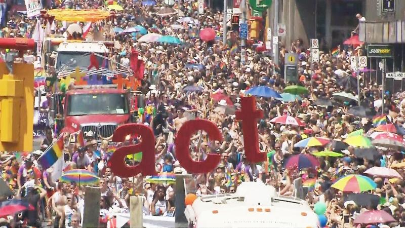 Thousands of spectators gather for Toronto's WorldPride parade on Sunday, June 29, 2014.