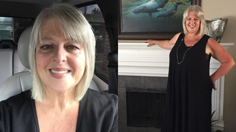 A composite image of Colleen, a British Columbia woman who died by suicide after she was scammed out of nearly $1 million (Photos supplied to W5)
