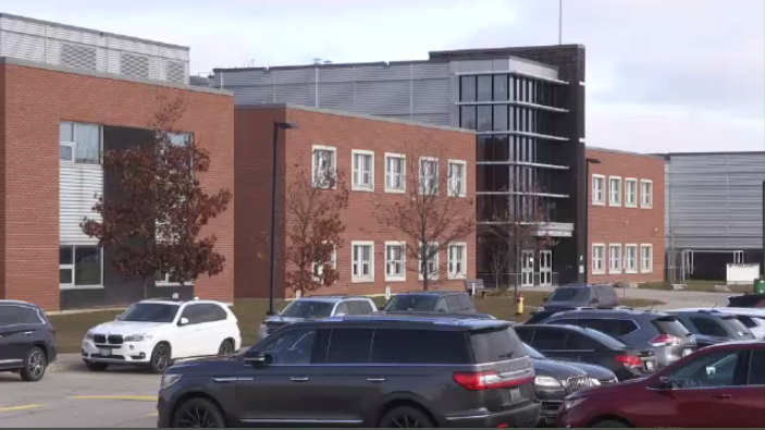 Huron Heights Secondary School in Kitchener is one of many schools set to close for a potential one-day teachers' strike on Wednesday. (Photo: Natalie Van Rooy/CTV Kitchener) (Nov. 39, 2019)