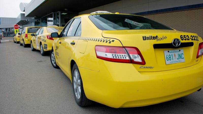Taxis sit lined outside Saskatoon's John G. Diefenbaker International Airport in this undated file photo. (Kevin Menz/CTV Saskatoon)