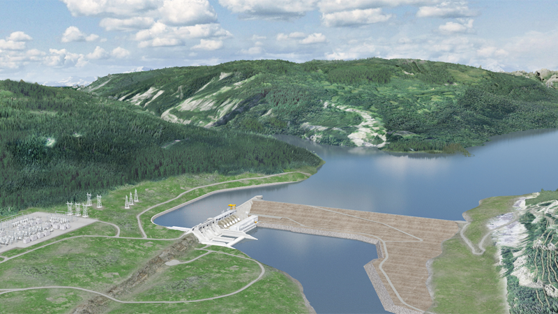 An artist's rendering shows the proposed Site C Dam.