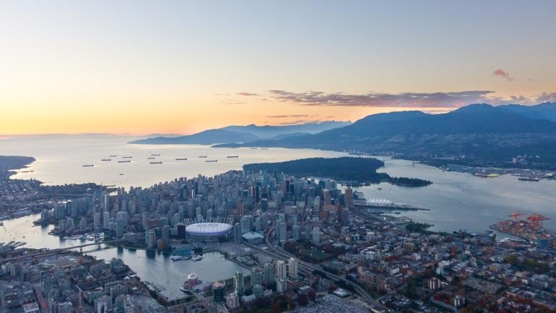 The Vancouver skyline is seen from CTV News Vancouver's Chopper 9 in October 2018. (Pete Cline)