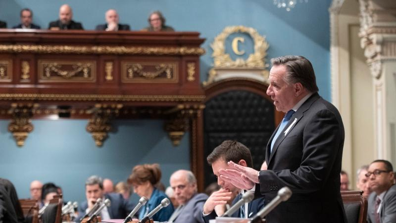 Quebec Premier Francois Legault will spend Dec. 7, 2019 pushing Bill 34 through the national assembly. THE CANADIAN PRESS/Jacques Boissinot