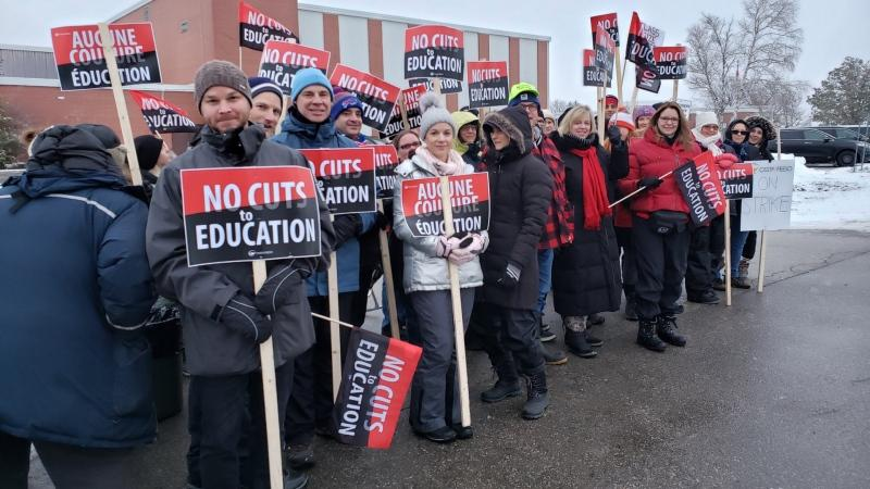 The Ontario Secondary School Teachers Federation confirmed early this morning that its union of 60,000 high school teachers and support staff are going on a one-day strike. (OSSTF District 24/ Twitter)