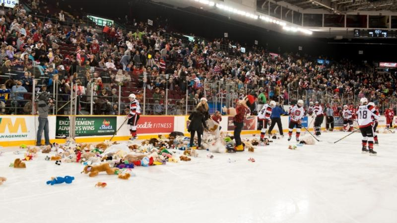The cancellation also means Sunday's teddy bear toss will be rescheduled to Sunday, Jan. 5 during a game versus the Erie Otters.