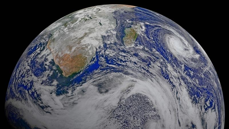 This image provided by NASA Data from six orbits of the Suomi-NPP spacecraft on April 9, 2015 have been assembled into this perspective composite of southern Africa and the surrounding oceans. (NASA via AP)