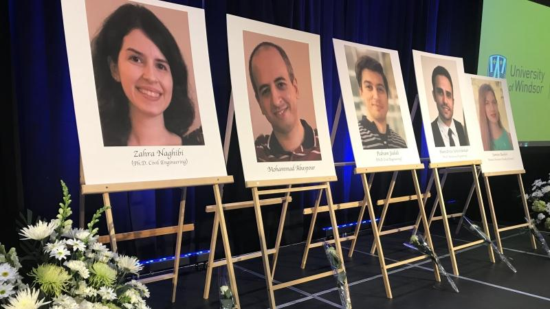 A memorial service takes place at the University of Windsor for Iran plane crash victims in Windsor on Friday, Jan. 10, 2020. (Angelo Aversa / CTV Windsor)
