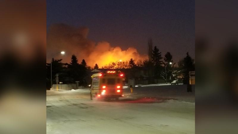 A flare from the ESSO Refinery in NE Edmonton on Jan. 14 looked like a fire. (Credit: Rachelle Drouin)