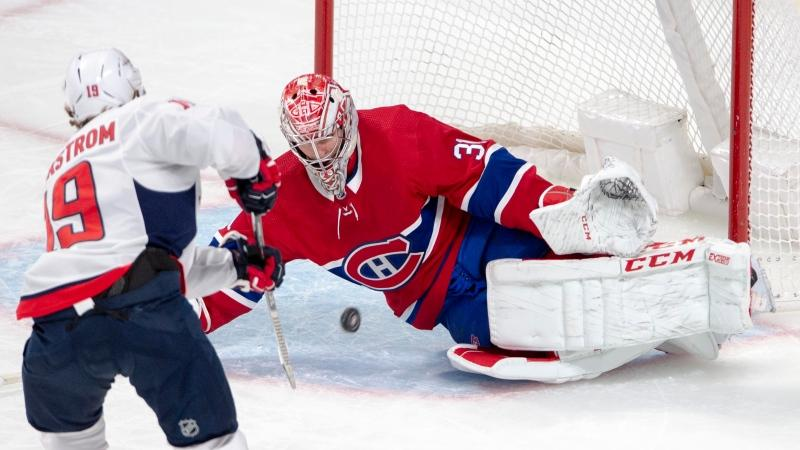 Montreal Canadiens goaltender Carey Price (31) makes the save on Washington Capitals centre Nicklas Backstrom (19) during first period NHL hockey action Monday, January 27, 2020 in Montreal. THE CANADIAN PRESS/Ryan Remiorz
