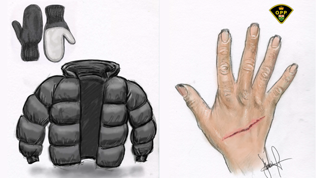 Police sketch of hand