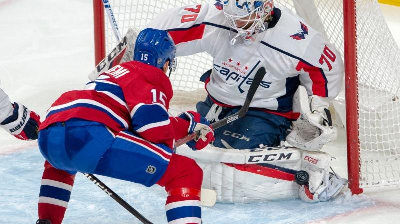 Montreal Canadiens centre Jesperi Kotkaniemi (15) will report to the Laval Rocket after being sidelined in Thursday's game against the Buffalo Sabres. THE CANADIAN PRESS/Ryan Remiorz