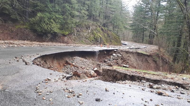 Between 400 and 500 people are stranded after a landslide damaged the only road to Sasquatch Mountain Resort. (Facebook)