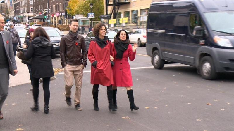 FILE: Cote-des-Neiges Mayor Sue Montgomery and Montreal Mayor Valerie Plante walk together in this undated image.