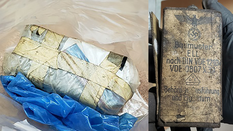 A combination photo from images provided by the RCMP shows a suspicious package, and the WWII-era ammunition container found inside.