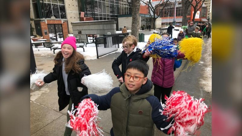Kids from Holyrood School participating in Winter Walk Day. Feb. 05, 2020 (CTV News Edmonton)