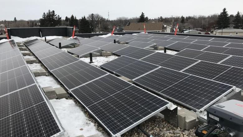 This 110 kilowatt rooftop sits atop one of Silver Sage Housing Corporation's building. (Cally Stephanow / CTV News Regina)