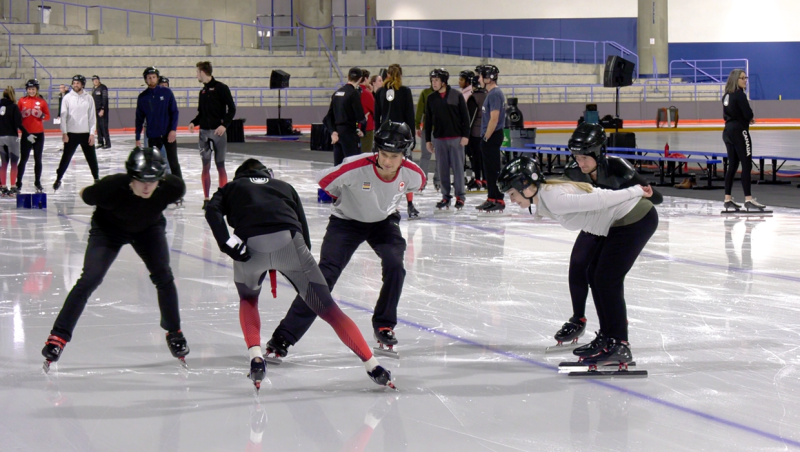Members of the Flames, Stamps, and some summer Olympic medallists slapped on skates Wednesday to help kick off the 2020 ISU World Cup Speed Skating in Calgary.