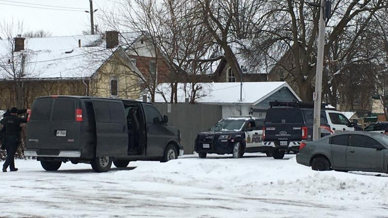 Heavy police presence in the area of Veterans Way and Ainslie St. S. in Cambridge on Feb. 6, 2020.