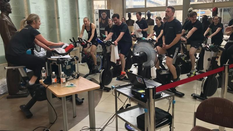 A 12-hour spin session at the Mazankowski is raising thousands of dollars for the institute. Feb. 6, 2020. (Brandon Lynch/CTV News Edmonton)