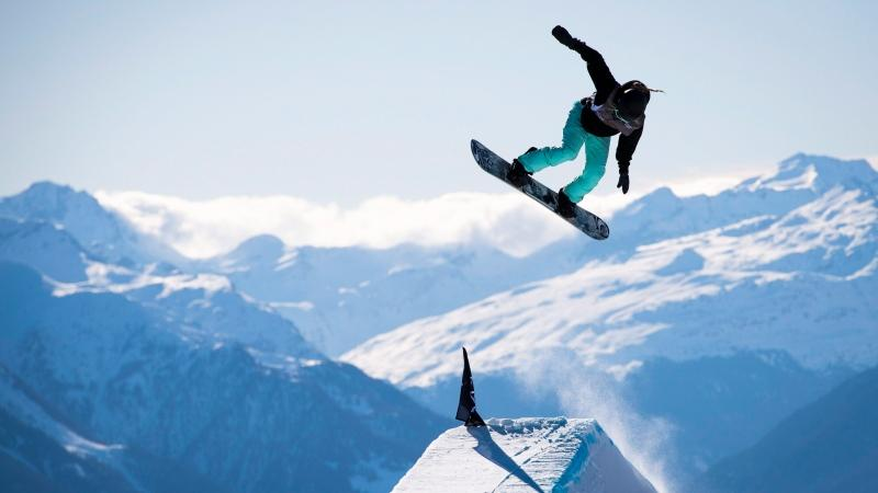 Laurie Blouin of Canada competes during the final run of the snowboard slopestyle competition at Laax Open, in Laax, Switzerland, Friday, Jan. 17, 2020. THE CANADIAN PRESS/AP-Keystone, Gian Ehrenzeller