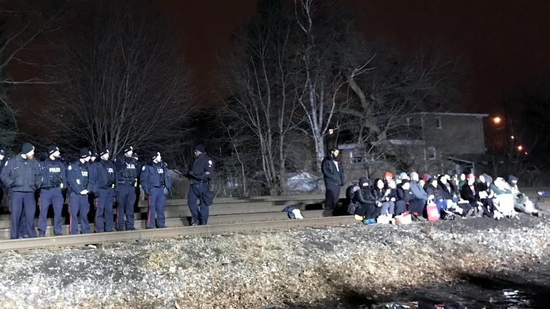 Image result for Rail line cleared, 3 arrests made after protest in Toronto's west end: police