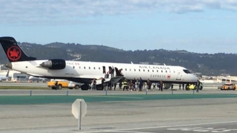 An Air Canada flight bound for Vancouver had to turn around and make an unscheduled landing shortly after taking off in San Francisco Sunday morning. (Twitter/@twuskip1)