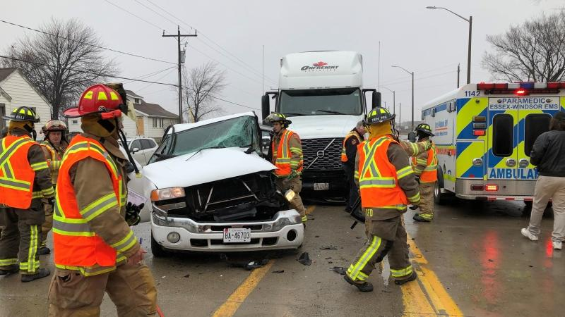 Firefighters extricated two people from a pickup truck following a crash with a transport truck. (Source: Tecumseh Fire and Rescue Services)