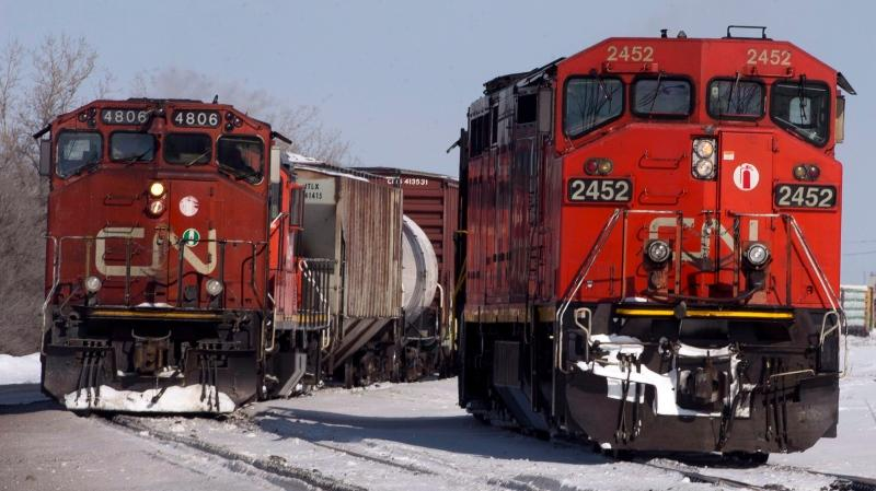 Canadian National locomotives are seen Monday, February 23, 2015 in Montreal. THE CANADIAN PRESS/Ryan Remiorz