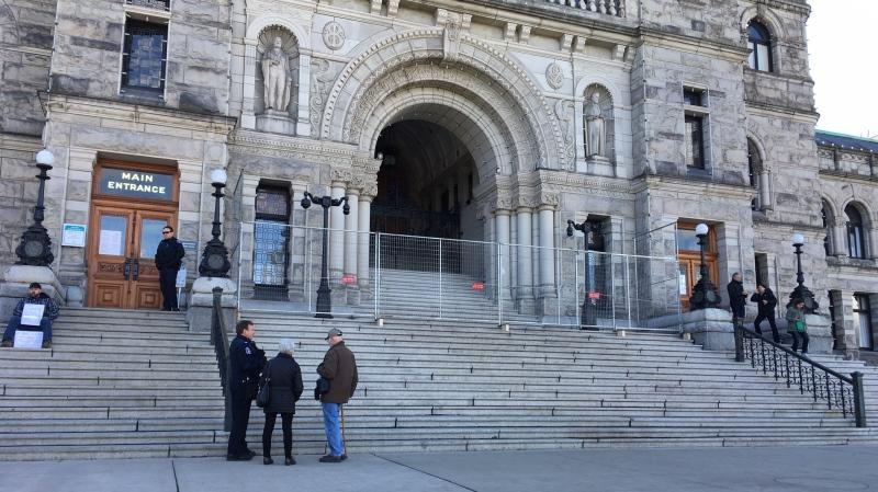 The B.C. legislature has reopened to the public Friday after demonstrators occupied the building's front steps for nearly two weeks: March 6, 2020 (CTV News)