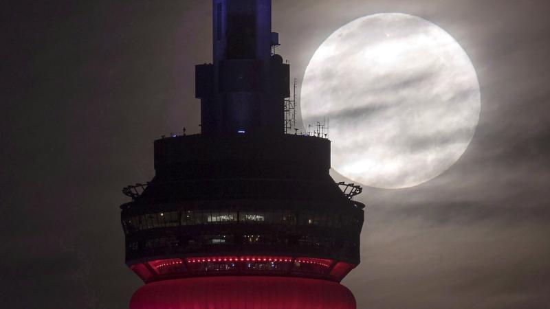 In this file photo, the super perigee full moon sets behind the CN tower in Toronto on November 14, 2016. THE CANADIAN PRESS/Frank Gunn