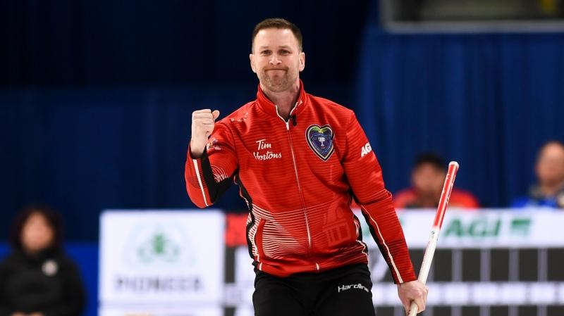 Team Newfoundland skip Brad Gushue reacts to a shot while taking on Team Alberta in the Brier final in Kingston, Ont., on Sunday, March 8, 2020. THE CANADIAN PRESS/Sean Kilpatrick
