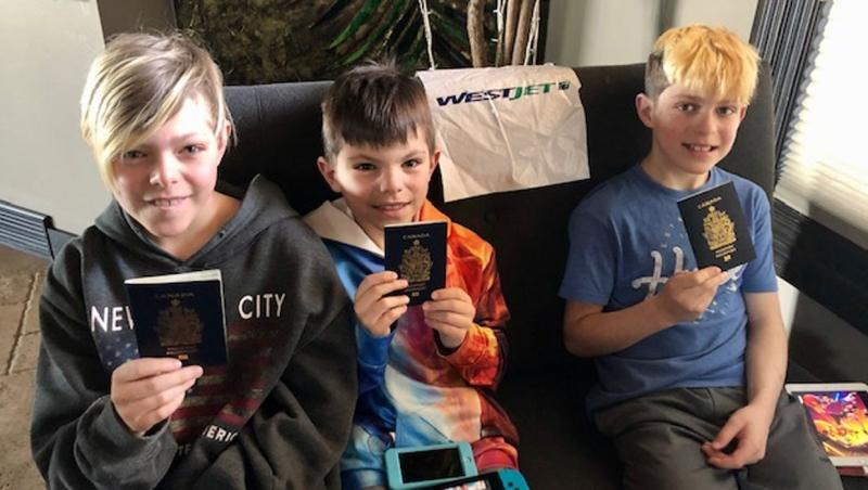 Brady, Boden and Bryn Baun were able to enjoy their family's cancelled Costa Rica trip through a bit of ingenuity from their mom.