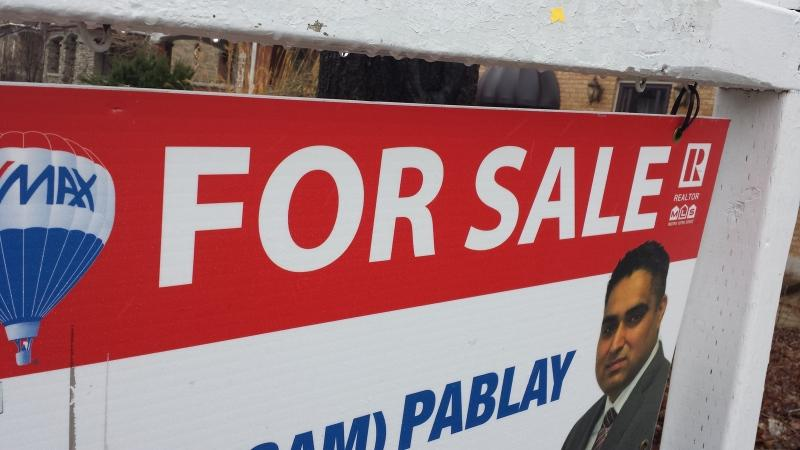 A 'for sale' sign is seen outside a home in Waterloo on Tuesday, March 4, 2017. (Dan Lauckner / CTV Kitchener)