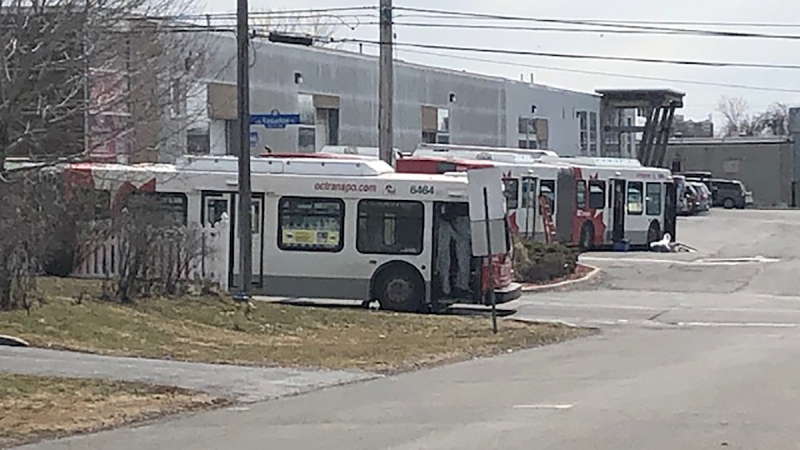 One of the five buses driven by an OC Transpo driver that tested positive for COVID-19 is being sanitized by a third party vendor.